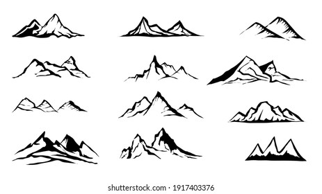 Mountain set isolated on white background. Vector Illustration EPS 10
