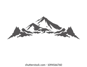 Mountain shape isolated on white background vector illustration. Mountain hills vector graphic silhouette.