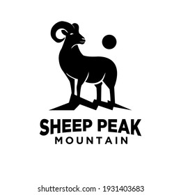 mountain sheep peak vector logo icon illustration deign concept mountain goat on a hill with moonlight suitable for outdoor, sport, farm logo