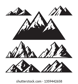 Mountain sign vector illustration - icons set. Silhouette abstract symbol. Black and white color. Graphic design elements.