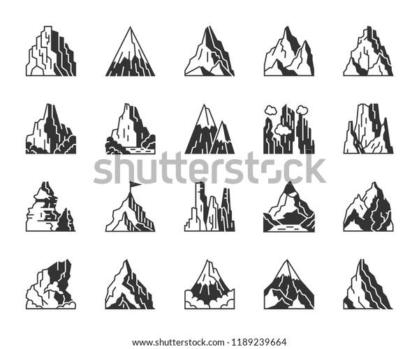 Mountain Silhouette Icons Set Monochrome Web Stock Vector (Royalty