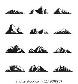 Mountain Silhouette Landscape Icon Peak Illustration Set