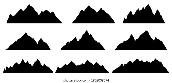 Mountain silhouette. Rocky range landscape shape. Hiking mountains peaks, hills and cliffs. Climbing stone mount abstract contour vector set. Illustration mountain silhouette shape, rocky cliff