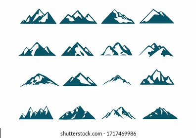mountain silhouette , set of blue rocky mountain silhouette. bundle vector.