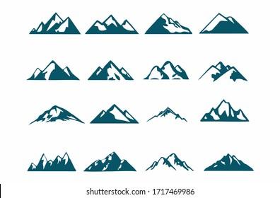 mountain silhouette , set of blue rocky mountain silhouette. bundle vector.