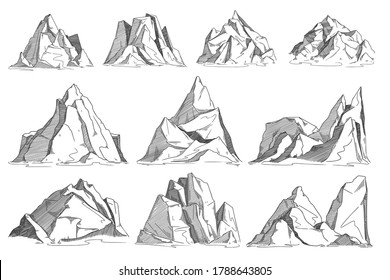 Mountain sketch. Hand drawn rocky peak sketch. Vector cliff set isolated on white background. Highland range landscape collection. Hand drawn mountain ridge contour illustration in engraved style