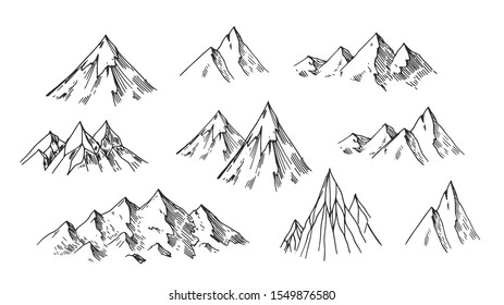Mountain sketches. Hand drawn vector isolated on white background