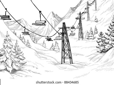 Mountain ski lift sketch