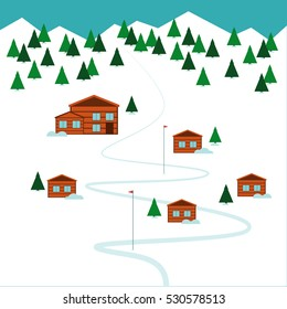 Mountain ski resort Vector illustration Ski resort on the top of the mountain and forest Flat design