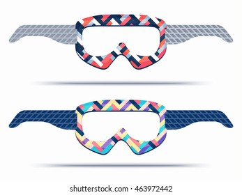 Mountain ski snowboard goggles blueprint template stock vector hd mountain ski and snowboard goggles blueprint template for die cutting trendy print glasses for paper malvernweather Image collections