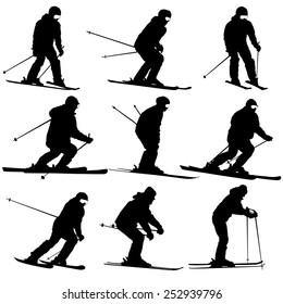 Mountain skier   men and woman speeding down slope. Vector sport silhouette.