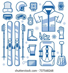 Mountain skiing gear and accessories collection. Ski icons set with jacket, avalanche rescue kit, snow boot, poles and other winter sport and activity essentials. Skiing equipment vector elements set.
