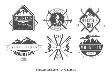 Mountain Skiing Retro Logo Templates Set, Skiing Sport Club Vintage Monochrome Labels Vector Illustration