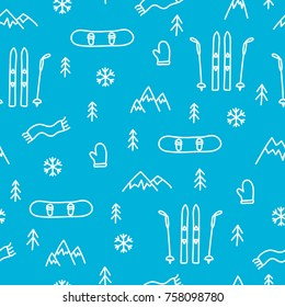 Mountain skiing or snowboarding concept seamless pattern blue