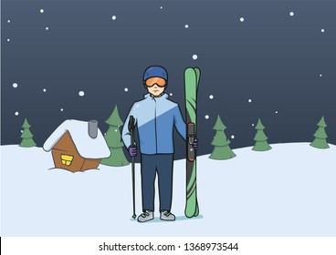 Mountain skiing, winter sport. Happy young man with skis standing on rural evening background. Vector illustration.