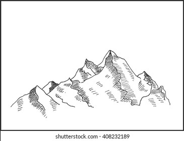 Mountain  snowy landscape peak hand drawn vector illustration, for extreme climbing sport, adventure travel  and  tourism design