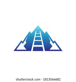 Mountain stair logo design concept. Blue mountain combination with ladder shape. Abstract mountain flat logo template