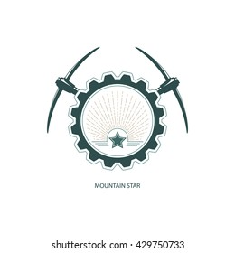 Mountain Star, Emblem of the Mining Industry, Star and Sunburst in Gear with Pickaxe , Design Element, Label and Badge Mine Shaft,  Vector Illustration