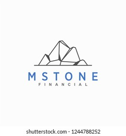 mountain stone logo, geometry, icon and vector, logo for business