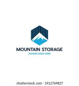 Mountain Storage Hexagon Logo Design