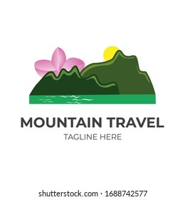 Mountain Sun And Flower With River Logo Vector