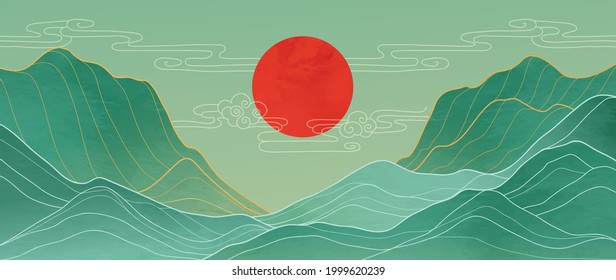 Mountain and sun golden line arts background vector. Oriental Luxury landscape background design with watercolor brush and gold line texture. Wallpaper design, Wall art for home decor and prints.