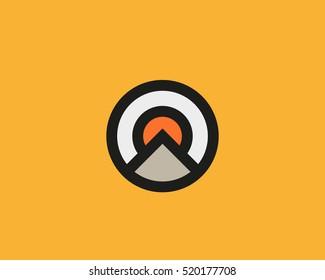 Mountain sun sky vector icon logo design. Travel adventure nature logotype symbol