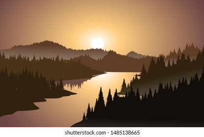 mountain sunset landscape with river and dense forest