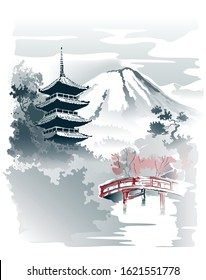 Mountain temple, Pagoda and red bridge under the mountain. Vector drawing in traditional japanese style sumi-e.