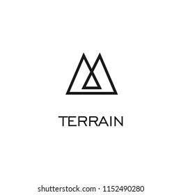 Mountain terrain badge m monoline icon