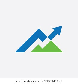 mountain and thunder arrow logo design