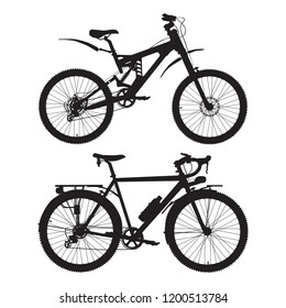 Mountain and touring bikes vector icon set. Road racing bicycle and full suspension mountain bike.
