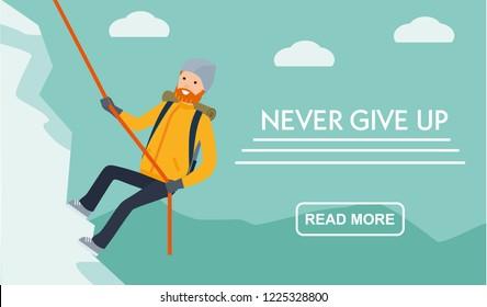 Mountain tourism banner.. Climber climbs the mountain. Never give up. Flat cartoon illustration vector set. Active sport concept set.