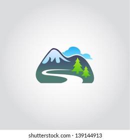 Mountain tourism icon, vector illustration, design element
