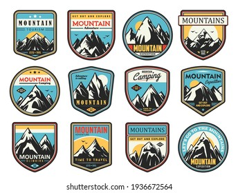 Mountain tourism and rock climbing vector icons set. Outdoor explore, extreme sport and adventure expedition. Rocks top and snowy peaks travel emblems, steep rocky hills and crests nature landscape