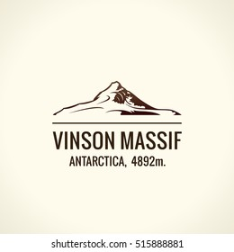 Mountain tourist vector logo. Emblem Mount adventures. Icon mount. Highest mountains in world. Vinson Massif. Antarctica