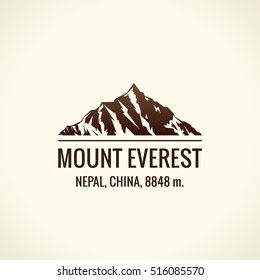Mountain tourist vector logo. Emblem Mount adventures. Icon mount. Highest mountains in world. Everest