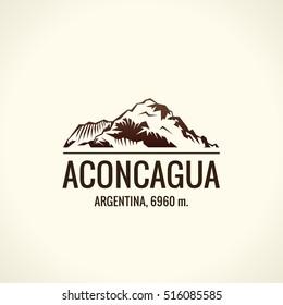Mountain tourist vector logo. Emblem Mount adventures. Icon mount. Highest mountains in world. Aconcagua