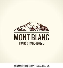 Mountain tourist vector logo. Emblem Mount adventures. Icon mount. Highest mountains in world. Mont Blanc