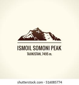 Mountain tourist vector logo. Emblem Mount adventures. Icon mount. Highest mountains in world. Ismoil Somoni Peak