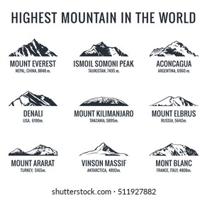 Mountain tourist vector logos set. Adventures Icon mount. Highest mountain in world. Everest and Ismoil Somoni Peak, Aconcagua, Denali, McKinley, Kilimanjaro, Elbrus, Ararat, Vinson Massif, Mont Blanc