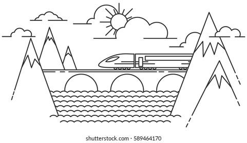 Mountain train on railway on the bridge. Line style travel background.