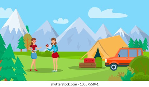 Mountain Travel, Hiking Flat Color Illustration. Young Women Cartoon Characters. Tourists with Car on Camping Trip. Summer Holiday Vacation, Outdoor Recreation. Encampment with Tent