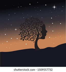 mountain tree with female face and starry night, vector
