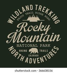 Mountain trekking adventure typography, t-shirt graphics, vectors