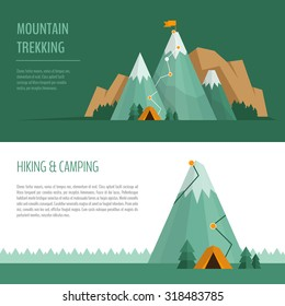Mountain trekking, hiking, climbing and camping concept. Hiking trail concept, infographics.