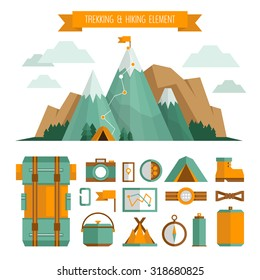 Mountain trekking, hiking, climbing and camping equipment. Object set. Hiking trail concept, flat style.