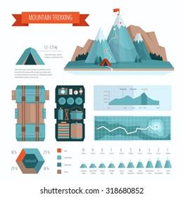 Mountain trekking and hiking infographics
