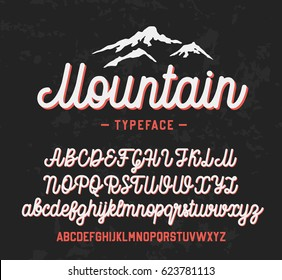 Mountain typeface. Handwritten lettering vector font aphabet