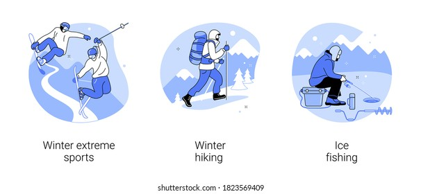 Mountain vacation abstract concept vector illustration set. Winter extreme sports, winter hiking, ice fishing, ski and snowboard equipment, travel and hobby, outdoor activity abstract metaphor.